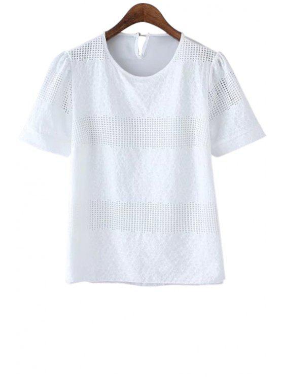 fancy Hollow White Short Sleeve T-Shirt - WHITE S