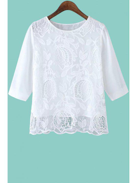 affordable Floral Embroidery Half Sleeve Blouse - WHITE S