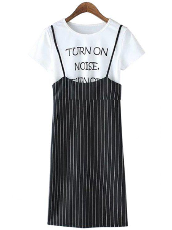 shops Spaghetti Straps Striped Dress and Short Sleeve T-Shirt Twinset - WHITE AND BLACK S