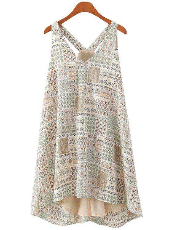 shop Tiny Floral Print Sleeveless Dress - APRICOT S