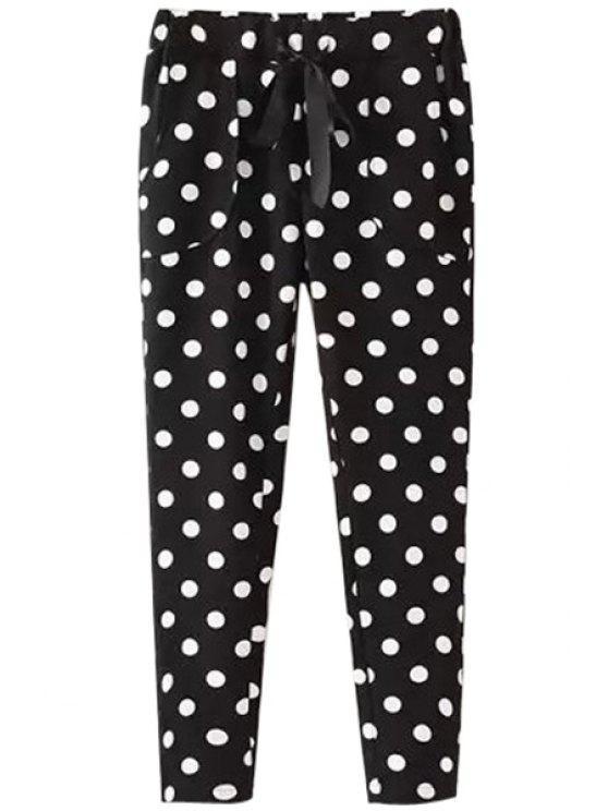 womens Polka Dot Print Drawstring Pants - WHITE AND BLACK S