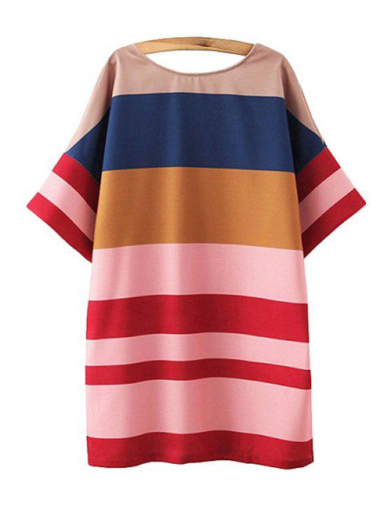 affordable Color Block Stripe Half Sleeve Dress - RED S
