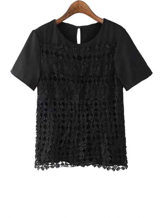 women Crochet Spliced Short Sleeve T-Shirt - BLACK S
