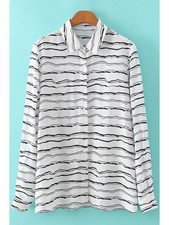 fashion Print Stripe Long Sleeve Shirt - WHITE AND BLACK S