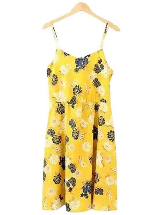 women Spaghetti Strap Sleeveless Floral Print Dress - YELLOW S