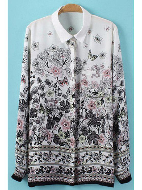 unique Turn-Down Collar Floral Butterfly Print Shirt - WHITE AND BLACK S