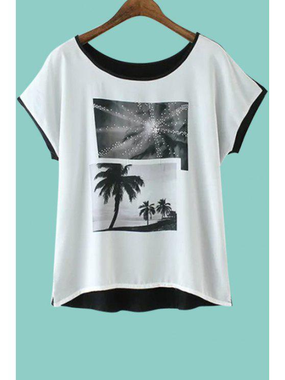 hot Short Sleeve Coconut Tree Print T-Shirt - WHITE AND BLACK S