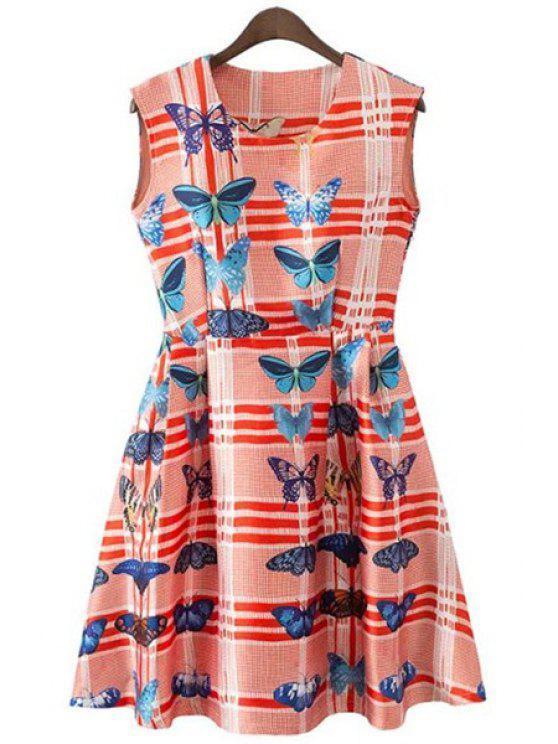 lady Butterfly Print Stripe Sleeveless Dress - RED S