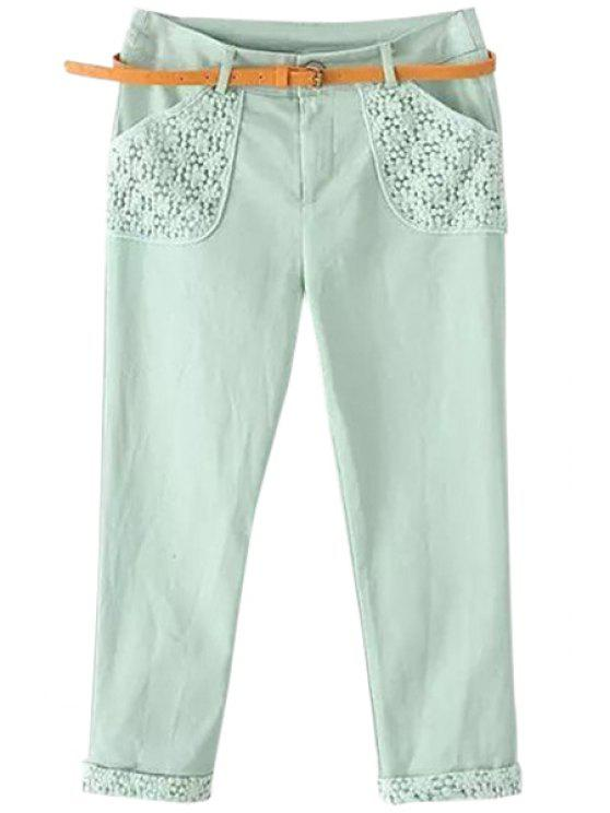 women Floral Embroidery Spliced Capri Pants - GREEN M