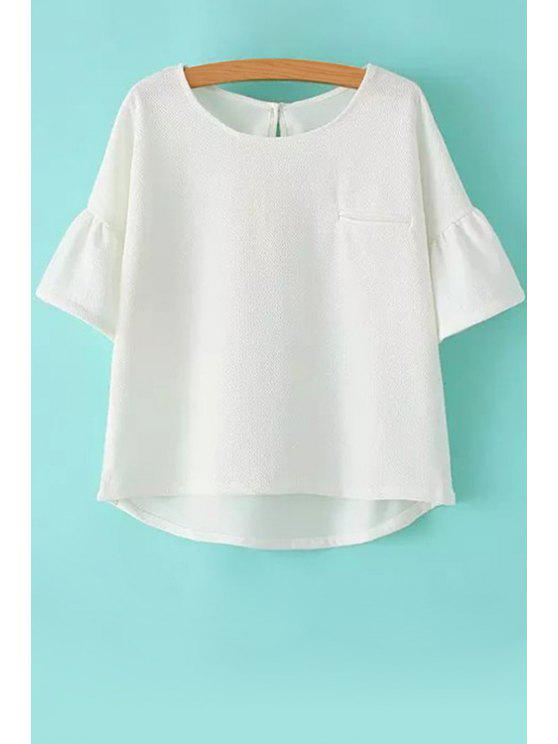 lady White Half Sleeve Chiffon Blouse - WHITE S