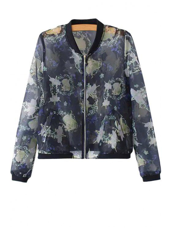 best Print Voile Long Sleeve Jacket - BLUE S