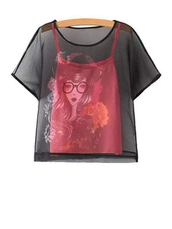 lady Figure Print Short Sleeve T-Shirt and Tanks Twinset - RED S