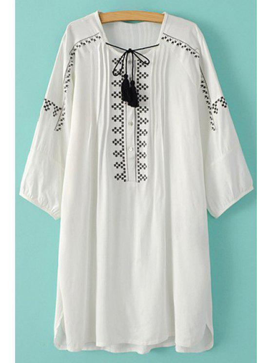 lady Tie-Up Embroidery Long Sleeve Dress - WHITE S