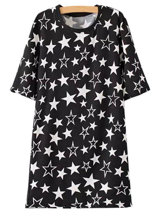 hot Full Star Print Half Sleeve Dress - BLACK S