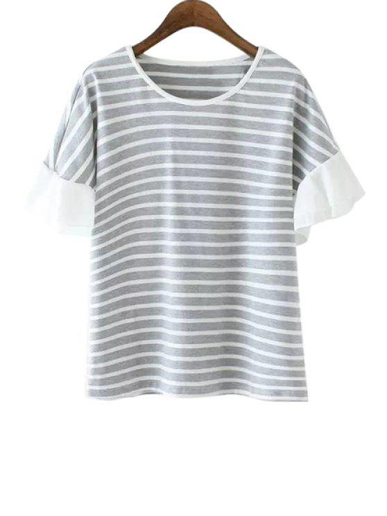 sale Striped Ruffles Short Sleeve T-Shirt - GRAY ONE SIZE(FIT SIZE XS TO M)