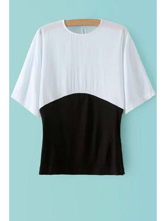 best Color Block Half Sleeve T-Shirt - WHITE S