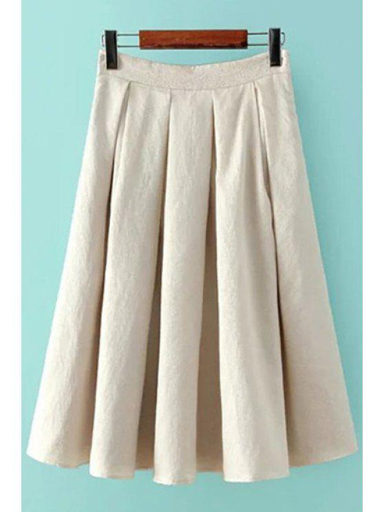 shop Solid Color Zipper Pleated Skirt - OFF-WHITE S