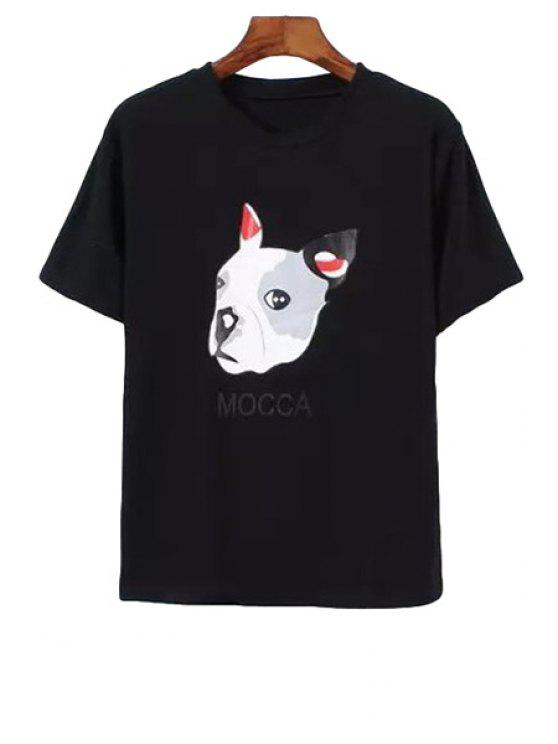 hot Jewel Neck Dog Letter Print T-Shirt - BLACK ONE SIZE(FIT SIZE XS TO M)