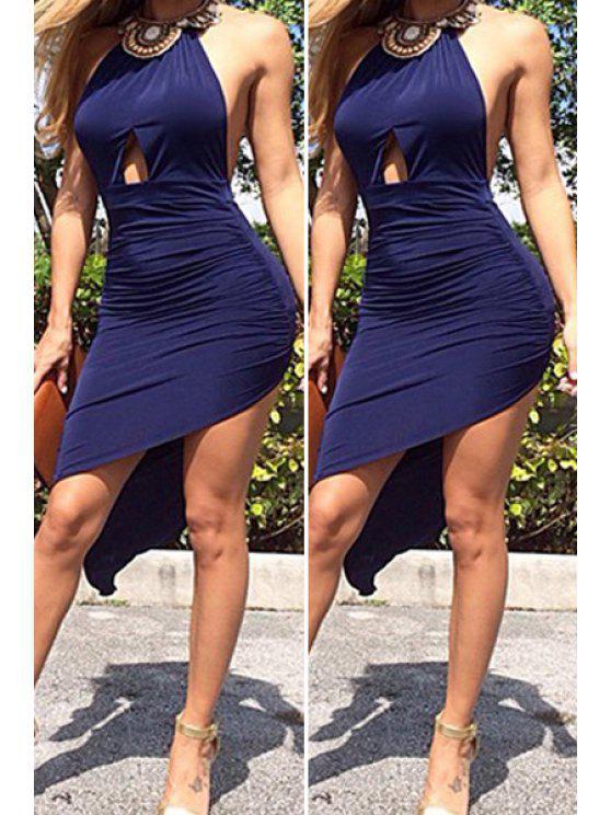 ladies Solid Color Halter Irregular Hem Dress - BLUE S