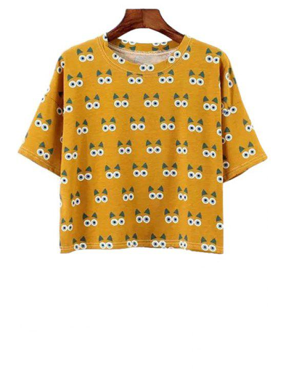 shops Jewel Neck Kitten Print Short Sleeve T-Shirt - YELLOW ONE SIZE(FIT SIZE XS TO M)