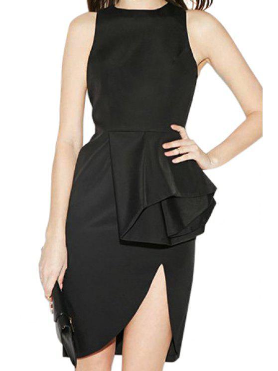 ladies Solid Color Asymmetrical Flounce Splicing Dress - BLACK S
