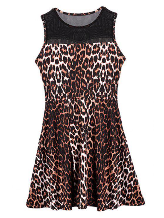 shop Jewel Neck Leopard Pattern Dress - DEEP BROWN S