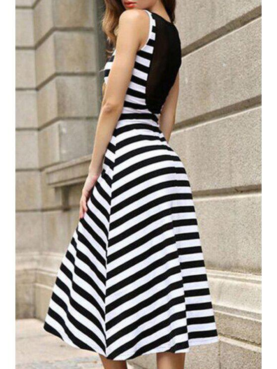 sale Scoop Neck Stripe Splicing Dress - BLACK S