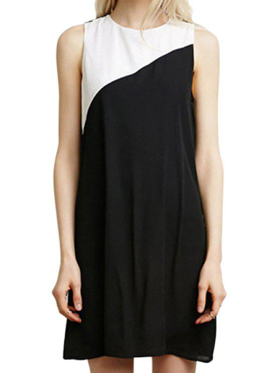 new White Black Splicing Sleeveless Dress - WHITE AND BLACK S