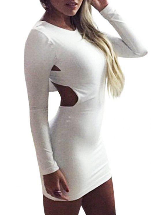 latest Solid Color Backless Cross Long Sleeve Dress - WHITE S