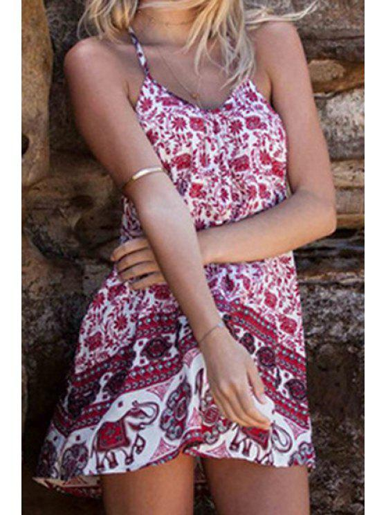 sale Red Floral Elephant Print Sleeveless Dress - DEEP RED S