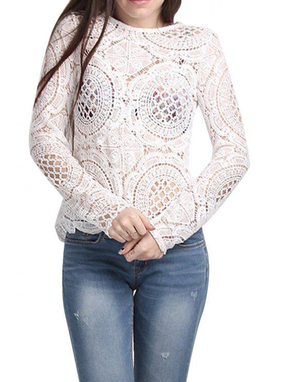 affordable Long Sleeves Solid Color Hollow Blouse - WHITE S