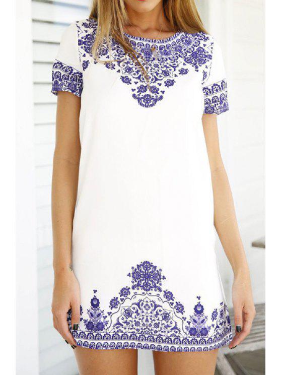 trendy Retro Floral Print Short Sleeve Dress - WHITE M