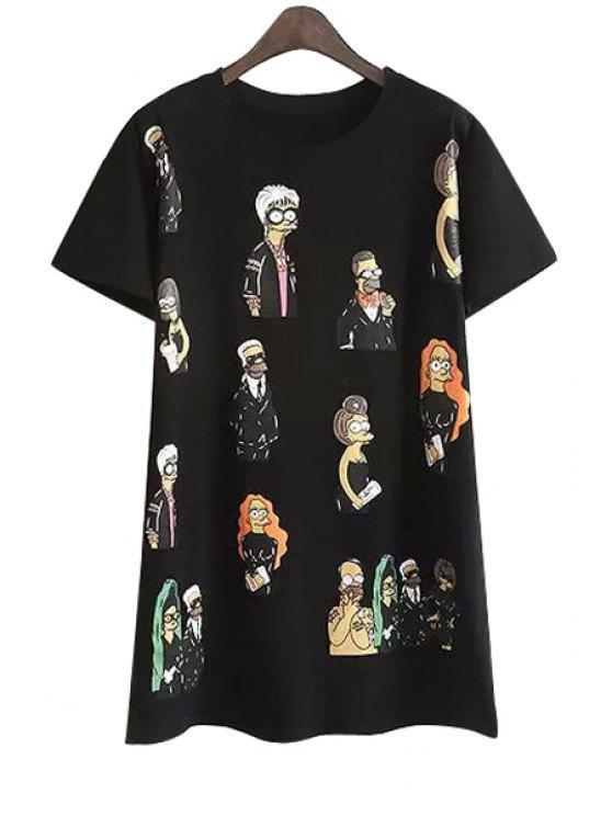 shops Full Characters Print Short Sleeve T-Shirt - BLACK M