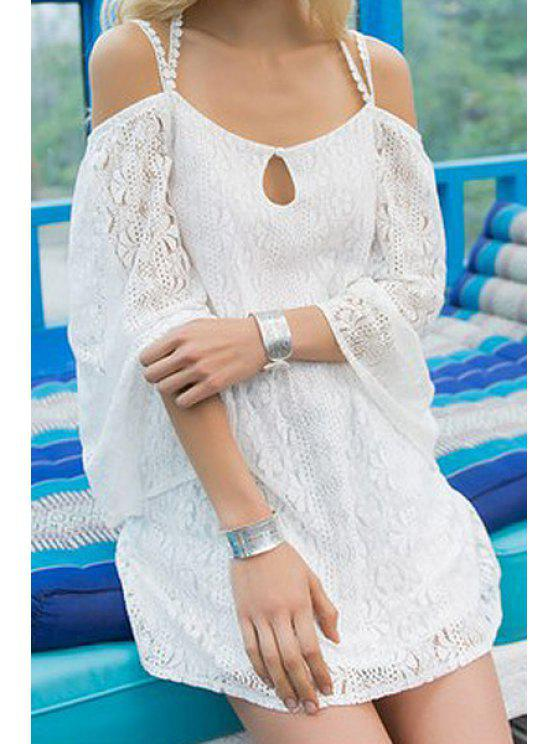 sale Cross Backless Solid Color Lace Dress - WHITE S