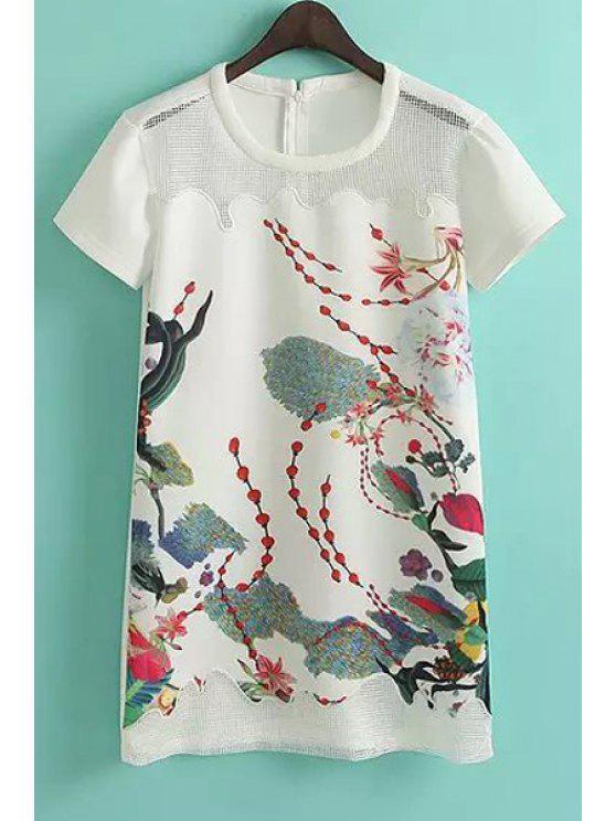 fashion Print Hollow Spliced Short Sleeve Dress - WHITE S