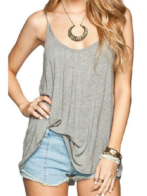 ladies Solid Color Backless Tie-Up Tank Top - DEEP GRAY M
