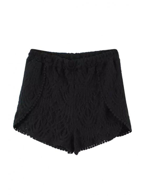 outfits Solid Color Lace Elastic Waisted Shorts - BLACK S