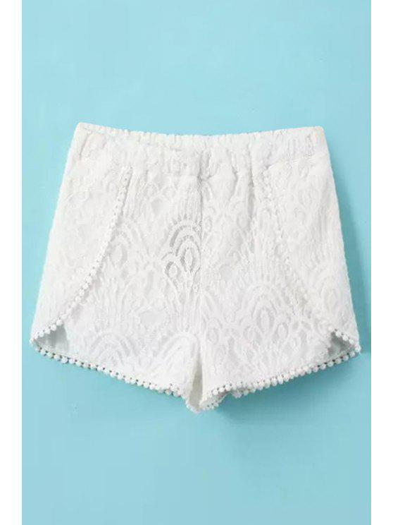 fashion Solid Color Lace Elastic Waisted Shorts - WHITE L