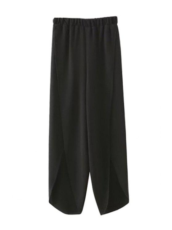 women Black Straight Leg Chiffon Pants - BLACK S