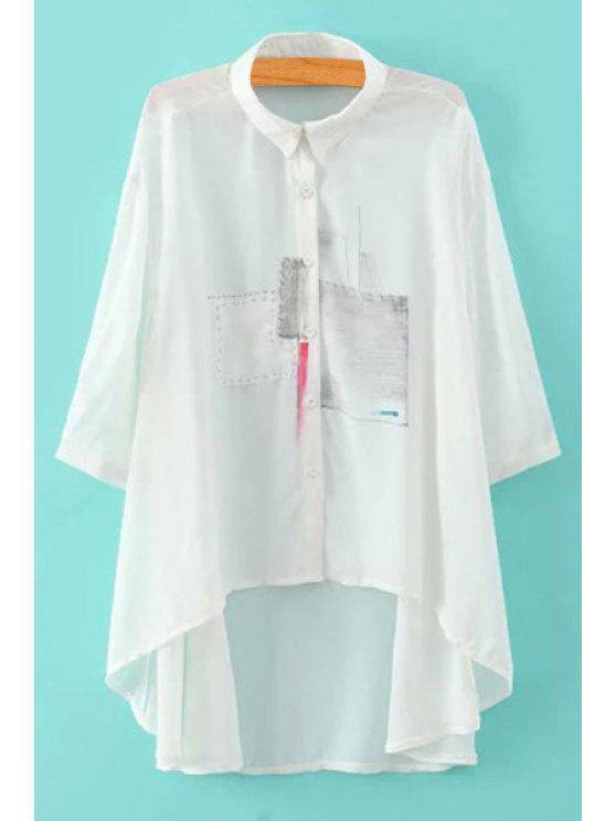 unique High-Low Hem Half Sleeve Shirt - WHITE S