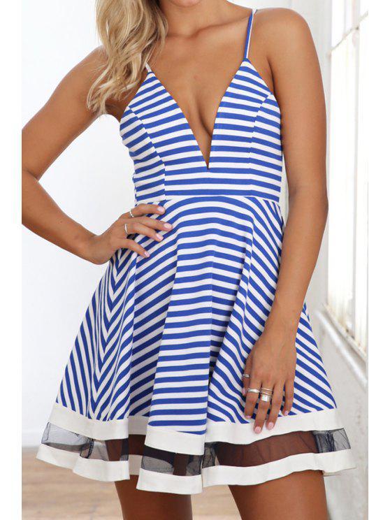 outfit Spaghetti Strap Blue Stripe Voile Splicing Dress - AZURE S