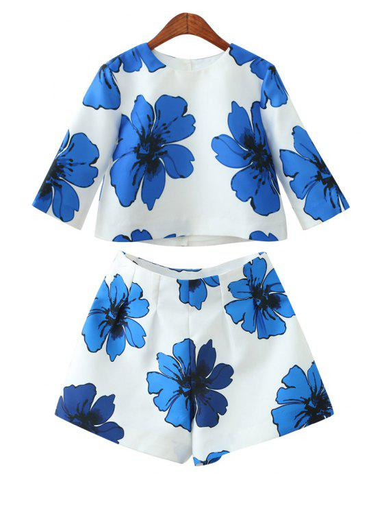 hot Blue Floral T-Shirt and Wide Leg Shorts Suit - BLUE S