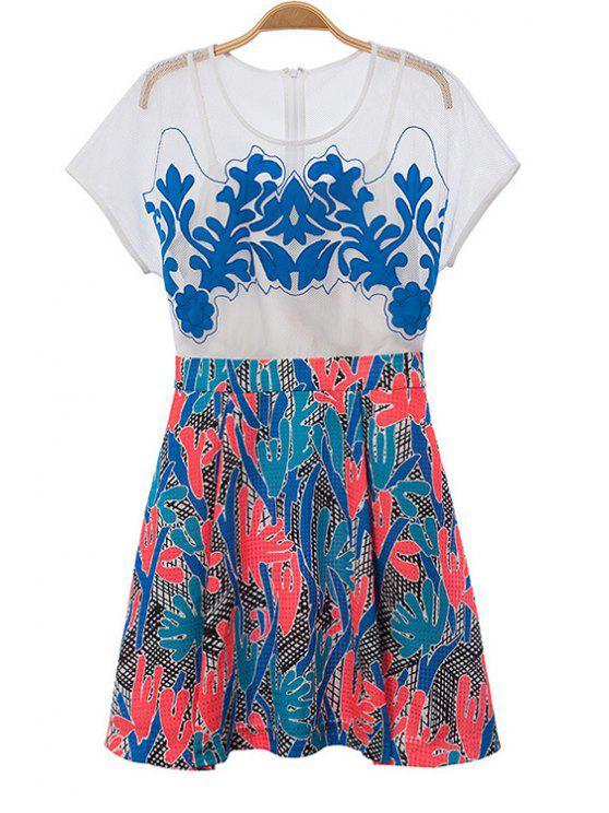 online Print Spliced Hollow Short Sleeve Dress - COLORMIX S