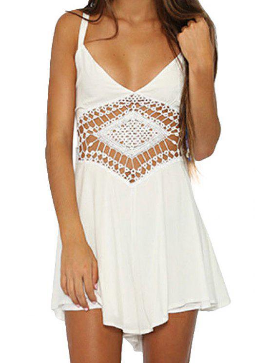 lady Spaghetti Strap Openwork Solid Color Dress - WHITE S