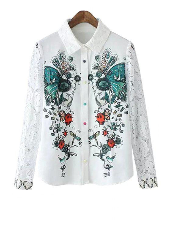 buy Butterfly Print Lace Spliced Shirt - WHITE S