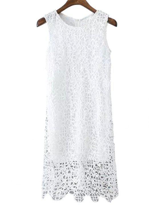 best White Crochet Hollow Sundress - WHITE S