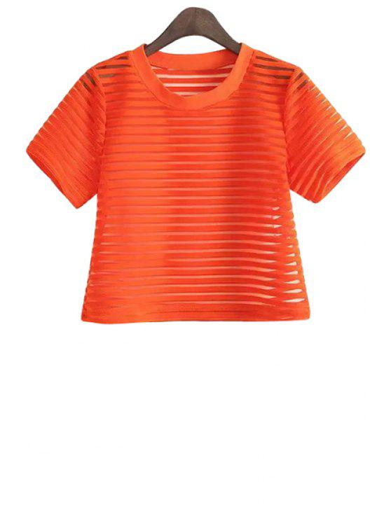 new Striped Hollow Short Sleeve T-Shirt - ORANGE ONE SIZE(FIT SIZE XS TO M)