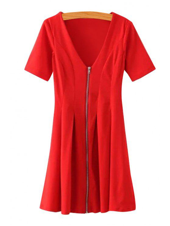 fancy Solid Color Zipper Short Sleeve Dress - RED L