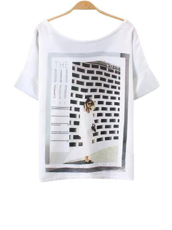 chic Figure Print Short Sleeve White T-Shirt - WHITE S