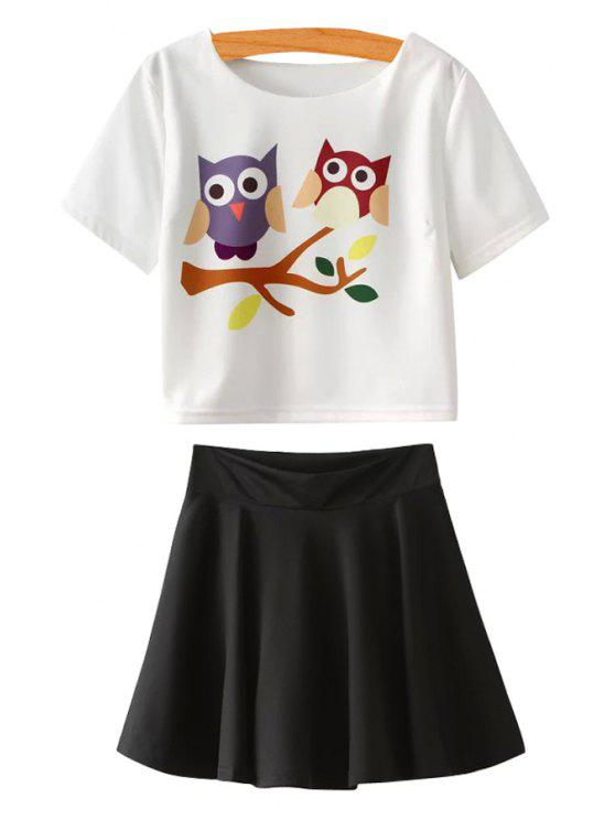 shop Owl Print Short Sleeve T-Shirt and Black Skirt Suit - WHITE AND BLACK S